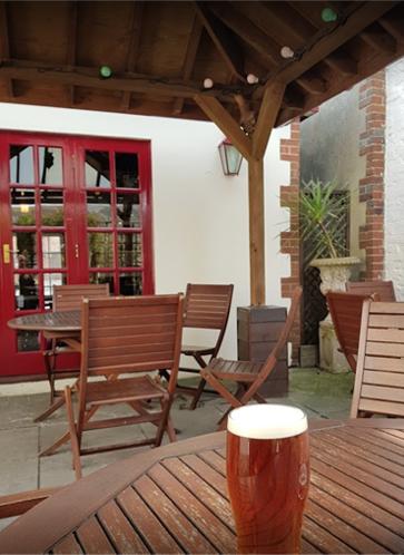 The beer garden at The Bell Inn Chichester